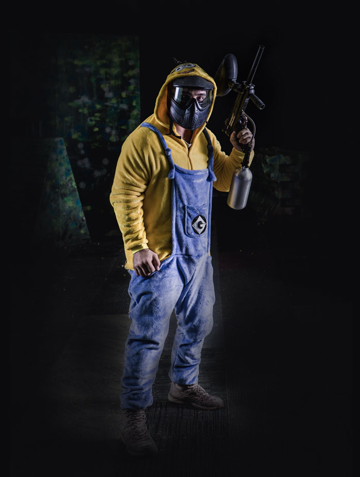 paintball player in minion onesie