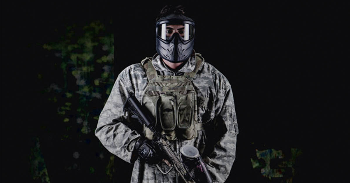 paintball player in full getup