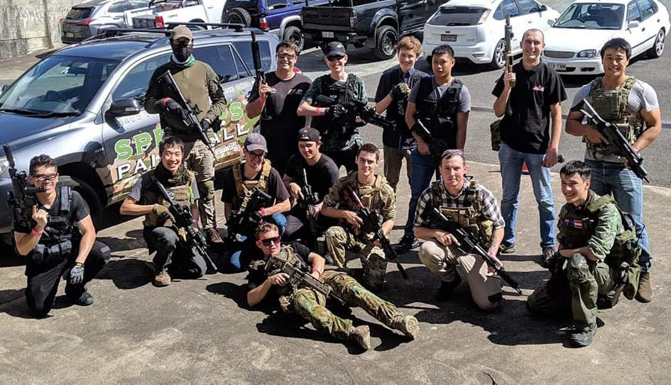 gel ball team in the spec ops brisbane car park